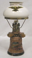 Vintage Miniature Kerosene Lamp w Shade Liberty Bell and Eagle Made in Japan