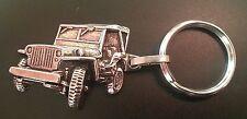 Willys Jeep Schlüsselanhänger Keyring relief silbern - Maße Fahrzeug 43x30mm