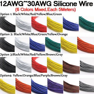 30/28/26/24/22/20/18/16/14/12awg Flexible Silicone Cable 6color Mix Wire Kit 30M