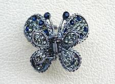 Grey Blue Crystal Rhinestone Butterfly Design Hair Comb Claw Clip Women Wedding