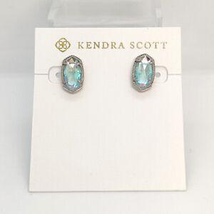 New Kendra Scott Ellie Stud Earrings In Dichroic Glass / Silver