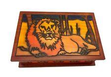 Polish Handmade Wood LION BOX Secret Opening Puzzle Box Trick Keepsake