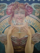 Veuve Amiot Champagne vintage poster Art nouveau original French Mucha style