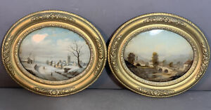 (2) Antique 19thC Victorian WINTER & SUMMER LANDSCAPE Old REVERSE Oil PAINTING