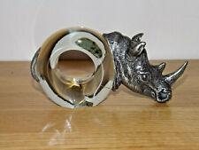 More details for ngwenya swaziland pewter glass napkin ring rhinoceros