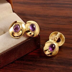 Natural Amethyst Gemstone with Gold Plated 925 Sterling Silver Cufflink #3606