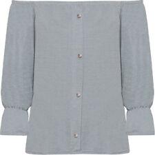 Magliette da donna a manica lunga blu in poliestere
