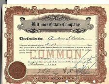 1923 Biltmore Estate Company Stock Certificate Re-Issued During WWII, Asheville