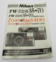 Instruction Manual NIKON TW ZOOM 35-70 & ZOOM TOUCH 400 35mm Camera 1990s VTG