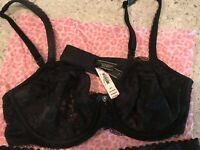 NWT! Sexy Victoria's Secret Black Bra And Panty Set 36C/Lrg w/Gift Bag