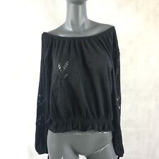 Free People Boho Peasant Women's Blouse Off The Shoulder Eyelet Black