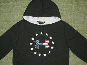 UNDER ARMOUR Freedom Rival Patriotic Flag LoGo Hoodie Sweatshirt YXL Boys XL