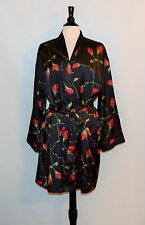 Victoria's Secret Silky Black Floral Red Rose Womens Robe Size M