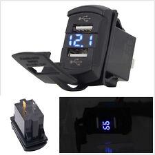 12V Dual USB Car Boat Socket Rocker Switch Panel with Voltage Voltmeter Blue