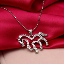 Women's Silver Plated Rhinestone Running Horse Charm Pendant Chain Necklace Gift