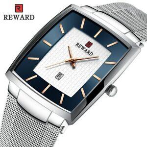 Rose Gold Blue Square Wristwatch Ultra-thin Mesh Belt Casual Steel Xmas Gift Men