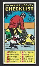 1964 Topps #54 Checklist 1st Series, Vintage NHL Hockey 1964-65