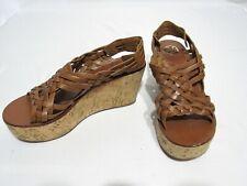 TORY BURCH Royal Tan Woven Antique Leather KILLIAN Cork Wedge Sandal 10 $295