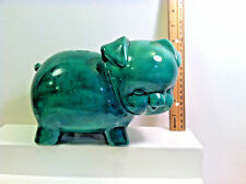 Vintage Ceramic GREEN PIG  Piggy Bank.