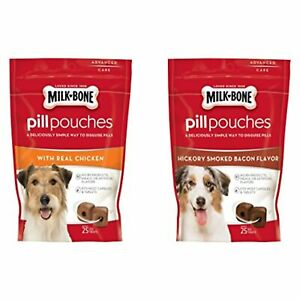 Milk - Bone Variety Pill Pouches with Real Chicken & Hickory Smoke Bacon Flavor