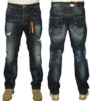 Mens ETO Tapered Fit Jeans Ripped Jeans In Dark Wash Colour All Size