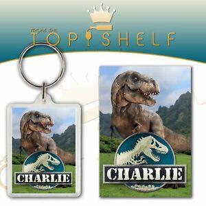 personalised children's dinosaur T-rex keyring / bagtag any name