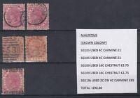 Mauritius QV 1891 2c on 4c SG118c Plus Extras VFU J1556