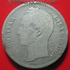 VENEZUELA 1886 GRAM 25 (5 BOLIVARES) .72oz SILVER 37mm CROWN COLLECTABLE COIN