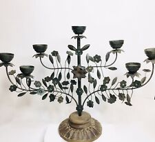 Pottery Barn Wrought Iron Metal Fireplace Candelabra 7 Place Candle Holder 🕯