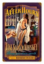 After Hours Scotch Pin Up Metal Sign Greg Hildebrandt
