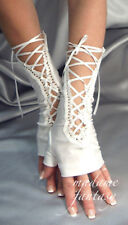 Madame Fantasy Long White Spandex Lacets Mitaines Arm Warmers Ruban
