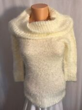 Metaphor Womens White Fuzzy Cowl Neck Sweater 3/4 Sleeve size M NWT