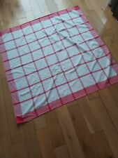 """vintage retro tablecloth, red and white, 48x50"""""""