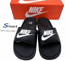 NIB SIZES 14-15 MEN Nike Benassi JDI Logo Black White Slides Sandals Slipper NEW