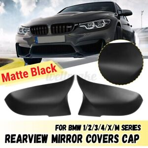 Pair Matte Black Rearview Mirror Cover For BMW F20 F21 F22 F32 F30 F36 X