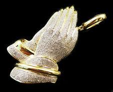 Men's Cross Pendant Necklace 1.20ct Sim Diamond 14k White Gold Finish 925 Silver