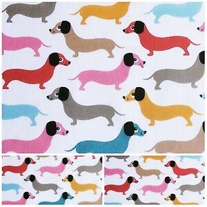 Polycotton Fabric Crafts Pet SAUSAGE  DACHSHUND  DOG PER Metre Material