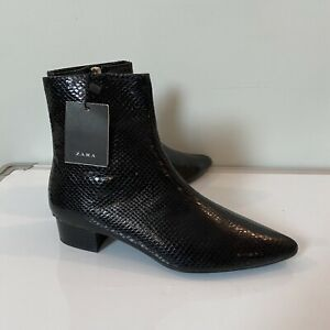 Zara size 5 38 black faux snake skin pointed toe ankle booties boots blogger