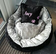 medium 2 colour luxury crushed velvet personalised dog bed
