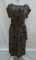 Hobbs black/multi elasticated waist short sleeve stretch jersey dress Size 12