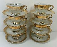 Bavaria DEMITASSE CUPS & SAUCERS Set of 8 Gold Trimmed Lustreware Espresso