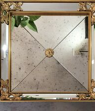 LaBarge Italian Ornate Gilded Beveled Square Framed Rococo Mirror (one)