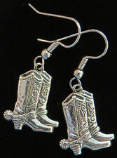 Cowboy Boots Earrings Oxidized Matte Silver Spurs Country Western Boot Cowgirl