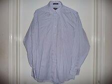 Kirkland Light Blue Pin Strip 100% Cotton Men's Long Sleeve Shirt-16 1/2