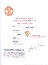 Johnny Morris Manchester United 1939-1949 Rara Original Firmada A Mano De Corte