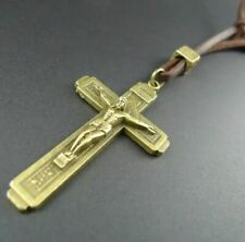 Mens leather stainless steel bronze cross Necklace Jesus dad son boy male