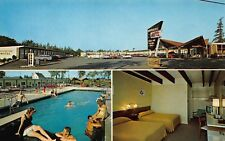 VTG POSTCARD BROOKSIDE ROADSIDE MCM MOTEL POOL WOMEN ELLSWORTH MAINE ME / B32