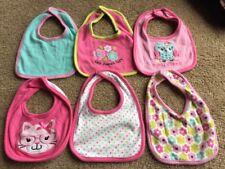 Lot Of 6 Cutie Pie Baby Girl Bibs - Assorted Colors / Designs