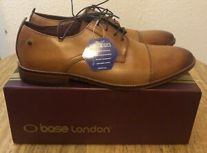Base London Mens Montage Washed Vintage Style Leather Buckle Up Monk Shoes