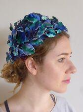 Vintage true 1940s hat blue velvet leaves demi- chapeau very good